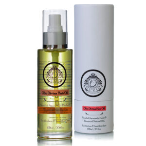 A spray bottle of the Olio Divina Ayurvedic Oil for Hair Growth
